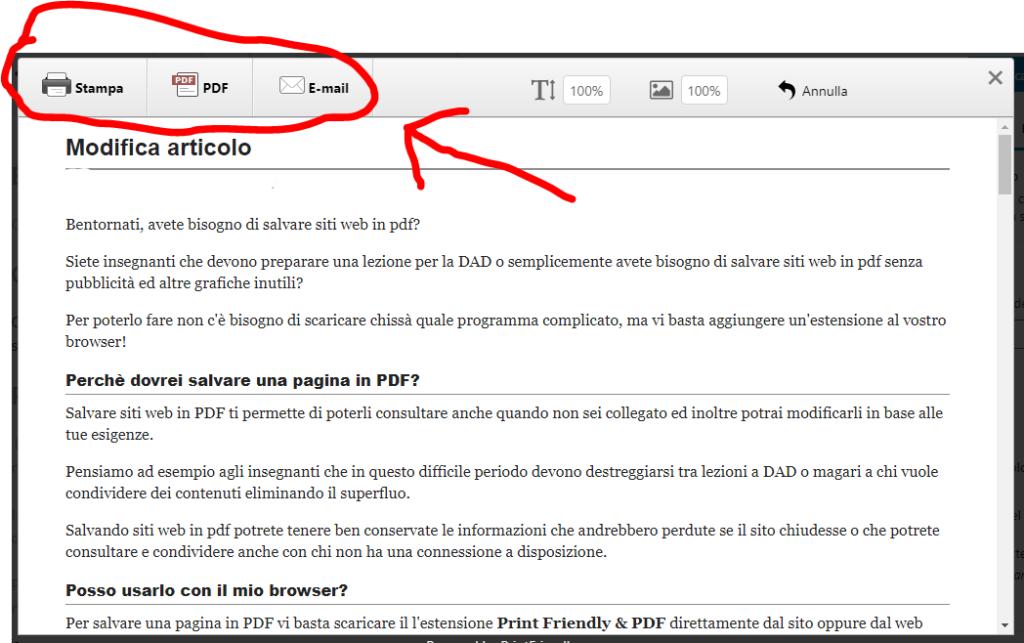 salvare siti web in pdf