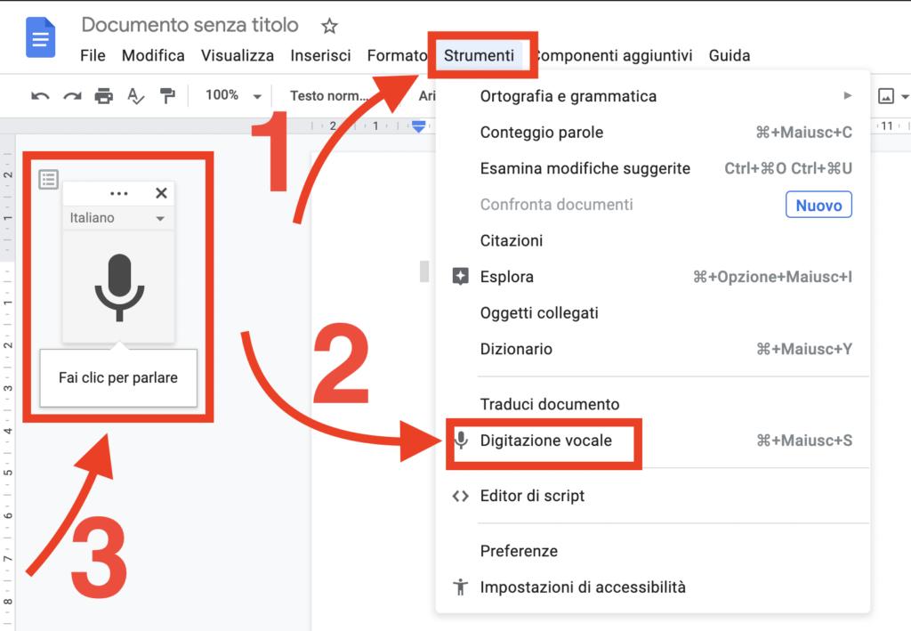 Digitazione vocale Google Documenti
